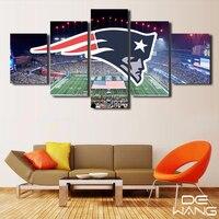 5 Pièce Toile Art New England Patriots Stade Affiches Toile Peinture Pour Salon Imprimer Cadre Mur de Toile Art Photos