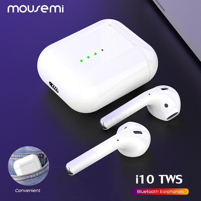 MOUSEMI i10 TWS Mini écouteurs Bluetooth sans fil Auriculares écouteurs casques avec boîte de charge pour iPhone Xiaomi téléphone Air Pods