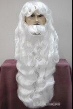 Серебристый белый Дед Мороз борода набор Необычные Платья Косплей парик Hivision