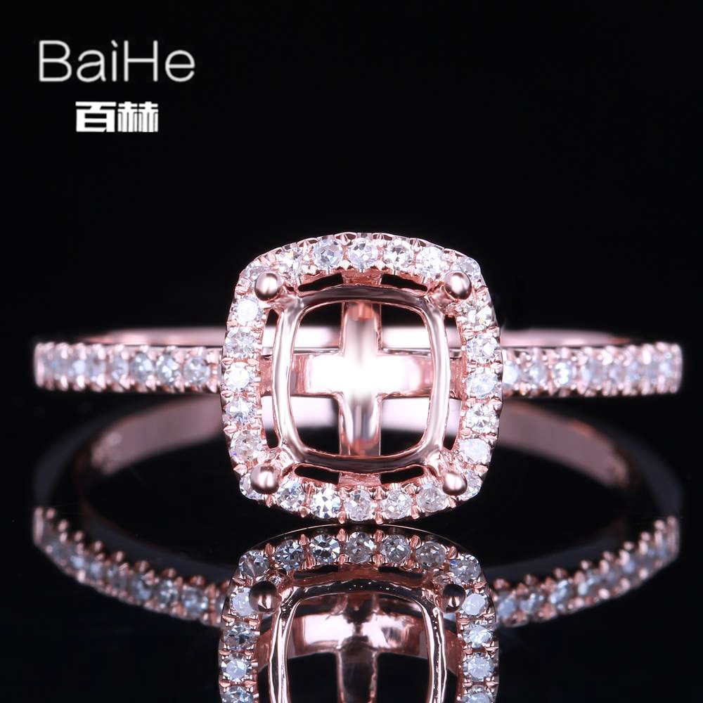 BAIHE Solid 14K Rose Gold Certified Cushion Cut Engagement Women Office/career Fine Jewelry Elegant unique Semi Mount Ring BAIHE Solid 14K Rose Gold Certified Cushion Cut Engagement Women Office/career Fine Jewelry Elegant unique Semi Mount Ring