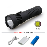 Powerful Led Flashlight Cree Xm L2 Waterproof Torch Lanterna 18650 Or 26650 Battey USB Rechargeable Linternas