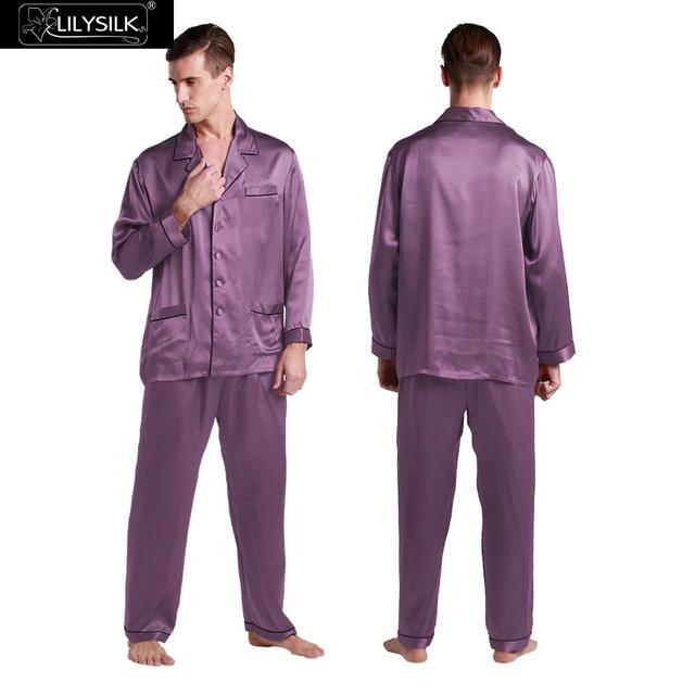 Lilysilk Real Chino Hombres Pijamas Homewear ropa de Dormir de Seda Pura Camisa de Manga Larga Con Pantalones de Dormir de Invierno Violeta Piel Alérgica