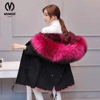 2017 New Fashion women's army green Large raccoon fur collar hooded long coat parkas outwear rabbit fur lining winter jacket