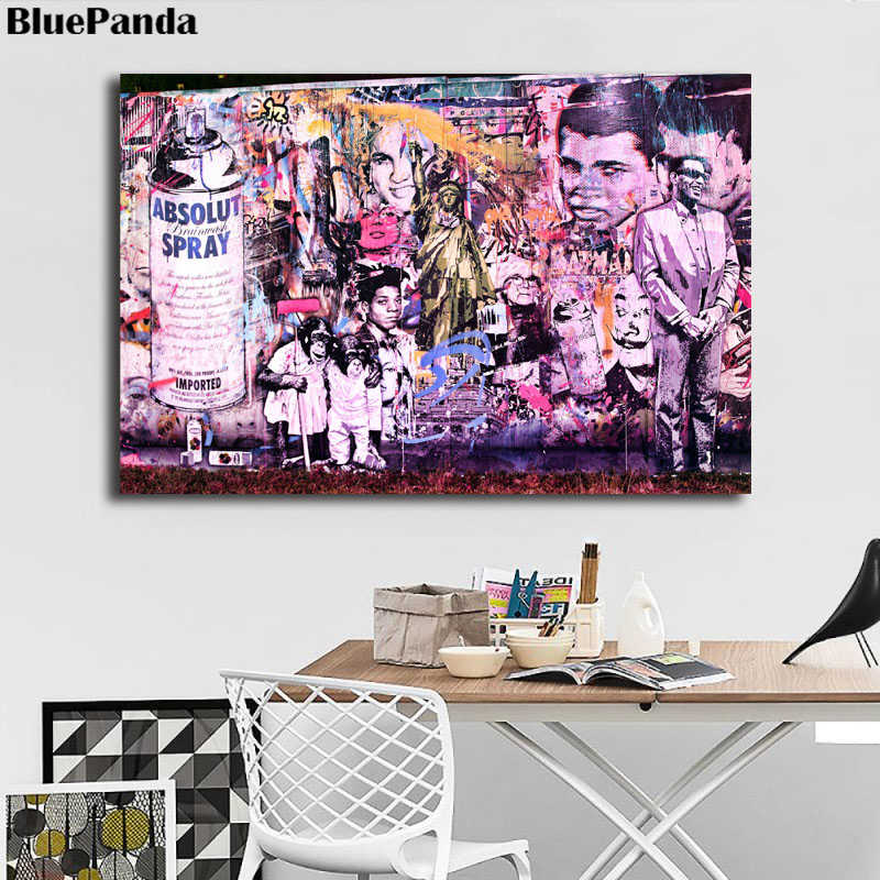 Mr. Brainwash Street Art Canvas Painting Banksy Poster Oil Wall Art Picture For Living Room Office Room Artworks Home Decor