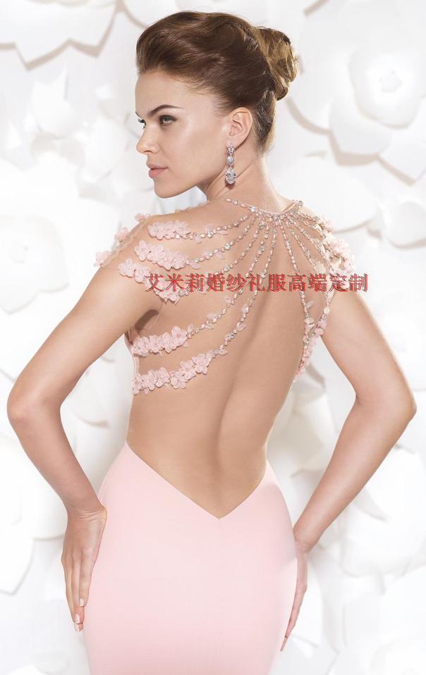 Livraison gratuite nouvelle mode fleur robe de festa formatura 2014 sexy dos nu femmes robe d'été sirène rose longues robes de bal - 3