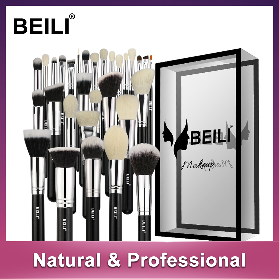 BEILI Black Complete Professional Foundation Powder Concealer Contour Natural goat hair Eyes Blending 30 pieces Makeup Brush set beili 12 pieces black premium goat hair synthetic powder foundation blusher eye shadow concealer makeup brush set cosmetic bag
