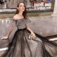 LOVONEY Real Photos A Line Boat Neck Elegant Long Evening Dress Vintage Formal Party Dresses Evening Gown Robe De Soiree YS434