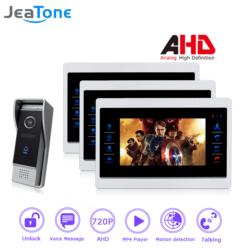 AHD 720P 4 Wired 7'' Video Door Phone Intercom Door Bell Door Speaker Security Motion Detection/Voice Message/MP4 Player/1 To 3