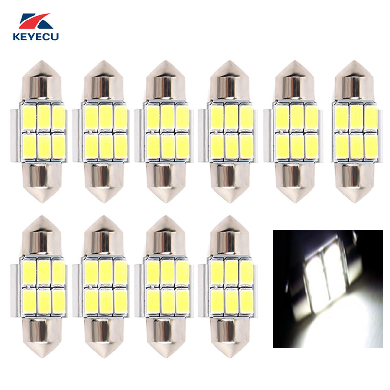 KEYECU 10PCS Canbus No Error White 31MM 5630 5730 6SMD LED Bulbs for License Plate Door Courtesy Interior Dome Reading Lights