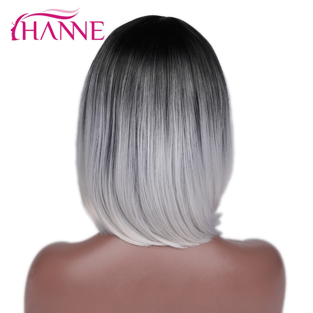 HANNE Afroamerikansk Bob Paryk Kort Axel Längd Ombre Grå Lila Grön - Syntetiskt hår - Foto 2