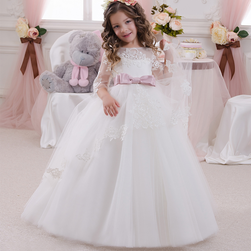 Girls Formal Dress Lace Three Quarter Ball Gown Backless Bow Sash Long Flower Girls Communion 2016 Pageant Dress 1-14 Years Old 15 pcs nylon face eye lip makeup brush set page 3