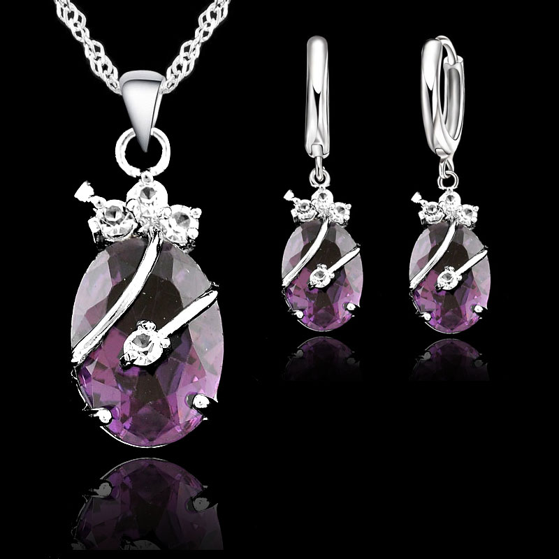 Yaameli Vintage Jewelry Sets For Women 925 Sterling Silver Wedding Set Crystal Stone Pendant Charms Necklace Hoop Earrings