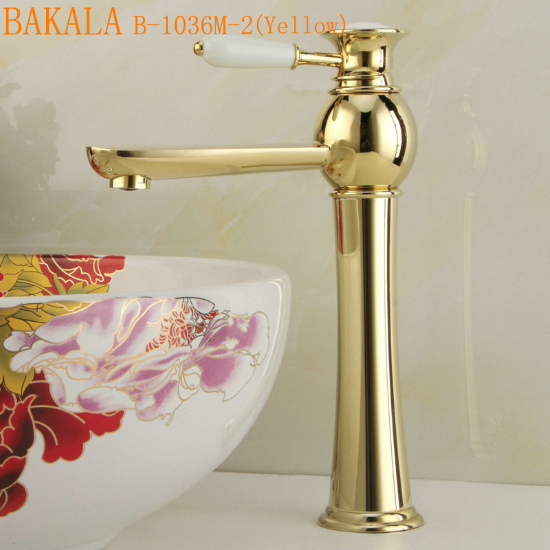 BAKALA  brass and with ceramic  single handle basin faucet Hot and cold tall high gold bathroom sink mixer tap B-1036M/B-1036M-2 pastoralism and agriculture pennar basin india