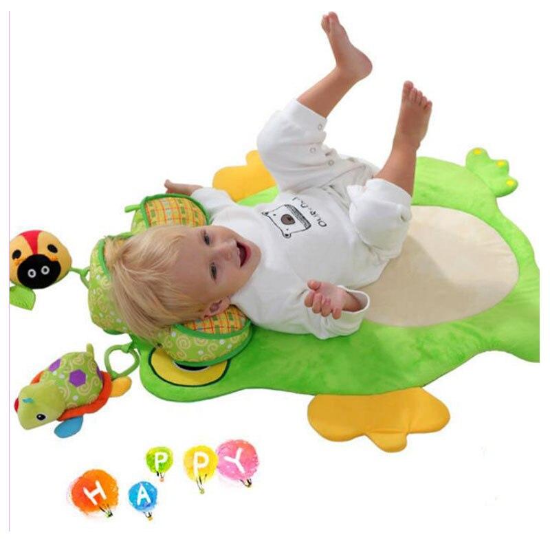 Baby Frog Game Playmat Newborn Baby Gym Activity Playmat Crawling Game Mat Cartoon Floor Play Mat With Pillow Plush Toys
