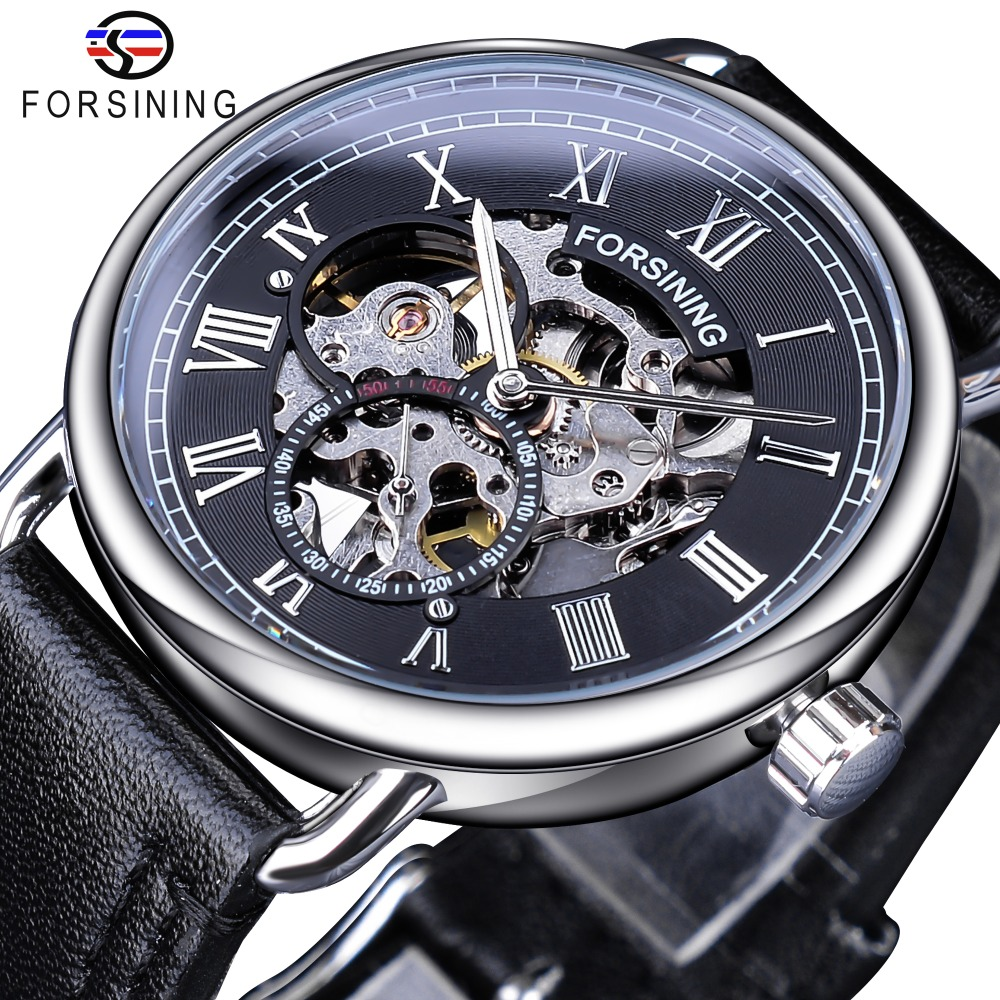 Forsining Classic Silver Case Black Genuine Leather Band Roman Number Waterproof Design Mens Mechanical Watches Top Brand Luxury