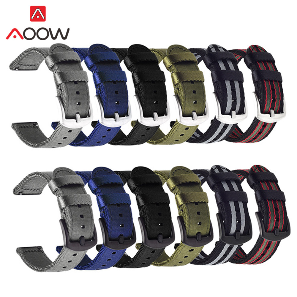 Nylon Strap 18mm 20mm 22mm 24mm For Samsung Galaxy Watch Active2 40mm 44mm Gear S2 Active2 Huawei Canvas Watchband Band Bracelet
