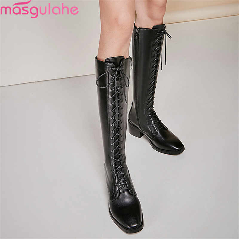 Masgulahe 2019 neue ankunft frauen kniehohe stiefel aus echtem leder + pu herbst winter stiefel lace up zip fashion punk schuhe frau