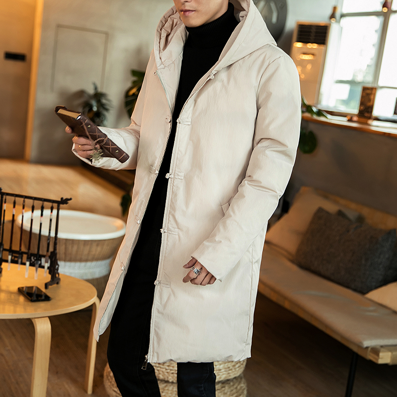 Winter Chinese style cotton padded Jacket male long hooded jacket coat Men Slim Solid Warm Thick   Parka   Trench Single breasted