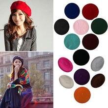 Kualitas tinggi Womens Wanita Manis Padat Hangat Wol Musim Dingin Beret French Artist Beanie Hat Ski Cap Hat Headwear Kasual