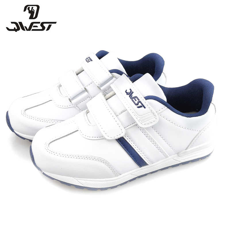 QWEST Spring Running Sports Shoes Hook& Loop Outdoor Kids Shoes White Sneakers for Boy Size 30-36 Free Shipping 91K-SL-1236