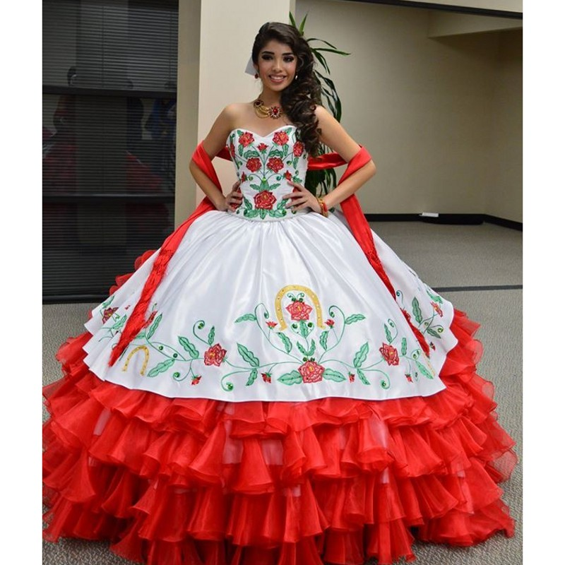 37f6f50d5c White   Red Sweetheart Floral Embroidery Quinceanera Dresses New Elegant Off  The Shoulder Organza Ball Gown Masquerade-in Quinceanera Dresses from  Weddings ...