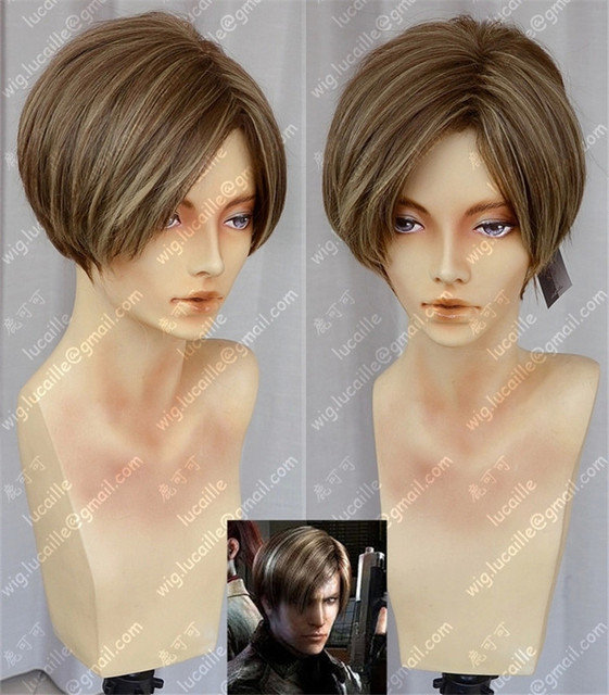 New Fashion Mens Women Golden Short  Synthetic Hair Wigs Movie Biohazard / Resident Evil Leon Scott Kennedy Cosplay Party Wig