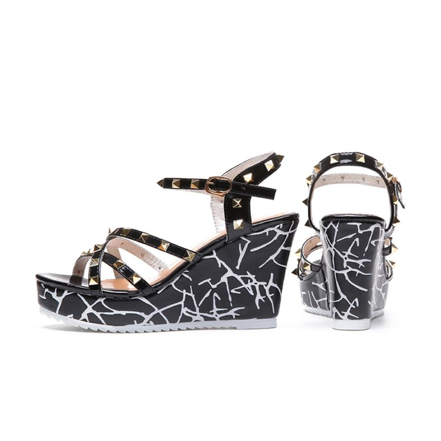Summer Lady Fashion Wedge High Heels Sandals Elegant Rivets Women Heels Fashion Platform High Heels Wedge Sandals Female Shoes 9