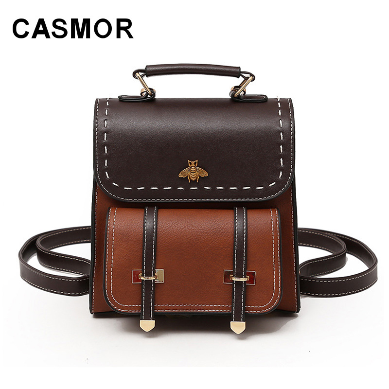 Casmor Old School Backpacks Classic Vintage High Quality Girls Fashion School Bag Pu Leather College Backpack Women