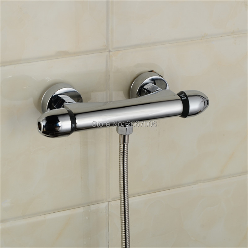 Free Shipping Retail Luxury Brass Thermostatic Faucet Thermostatic Cartridge Mixer Wall Mounted Shower Tap ZR972 free shipping new arrival brass chrome bathroom luxury wall mounted thermostatic mixer valve rain shower mixer set