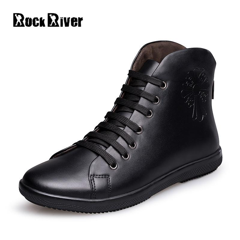 Big Size 35-48 Genuine Leather Men Boots Ankle Autumn Winter Boots Men With Zipper Waterproof Plush High Top Winter Shoes Men mulinsen newest 2017 autumn winter men