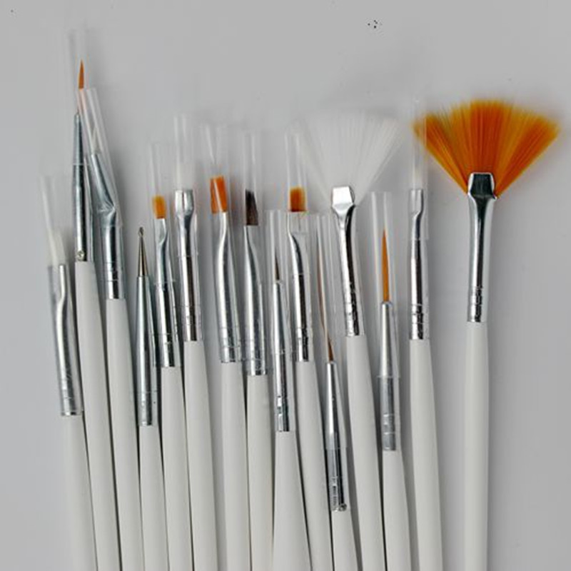 15pcs nail brush uv gel polish nail art styling tools for Avon nail decoration brush