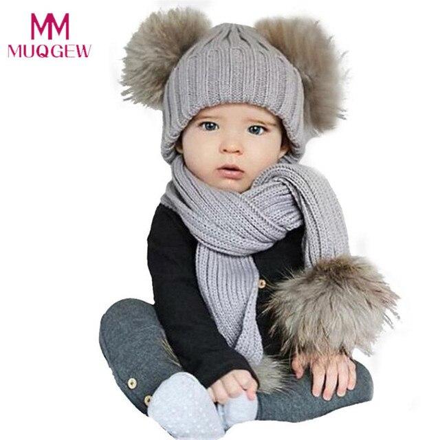 3ffb2dea815 Baby Cute Winter Kids Baby Hats Keep Warm Set Cute Hat Scarf Single  Double  Ball