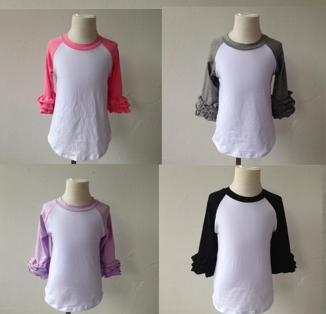 6942f2fd7c6 little top model 100 new fashion girls ruffle tops raglan tee children s  clothes long sleeve t