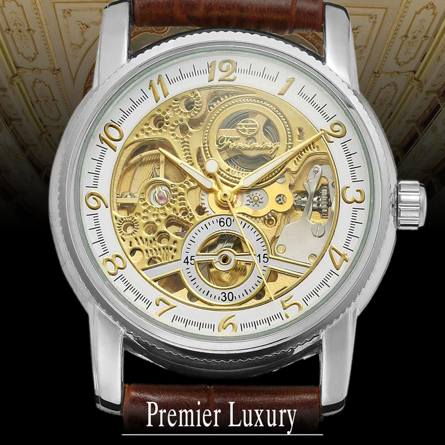 c5b7a3eb700 FORSINING Unisex Pulseira de Couro Auto Mecânica relógios de Pulso  Movimento Importado Real Relógios de Ouro
