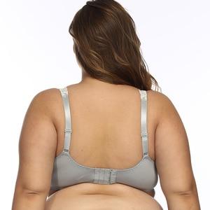 Image 4 - النساء غير المبطنة التغطية الكاملة حمالات الصدر حجم كبير حمالة التطريز لا مبطن الصدرية Underwire Bralette 32 52 DDD/F/FF/G/H كوب