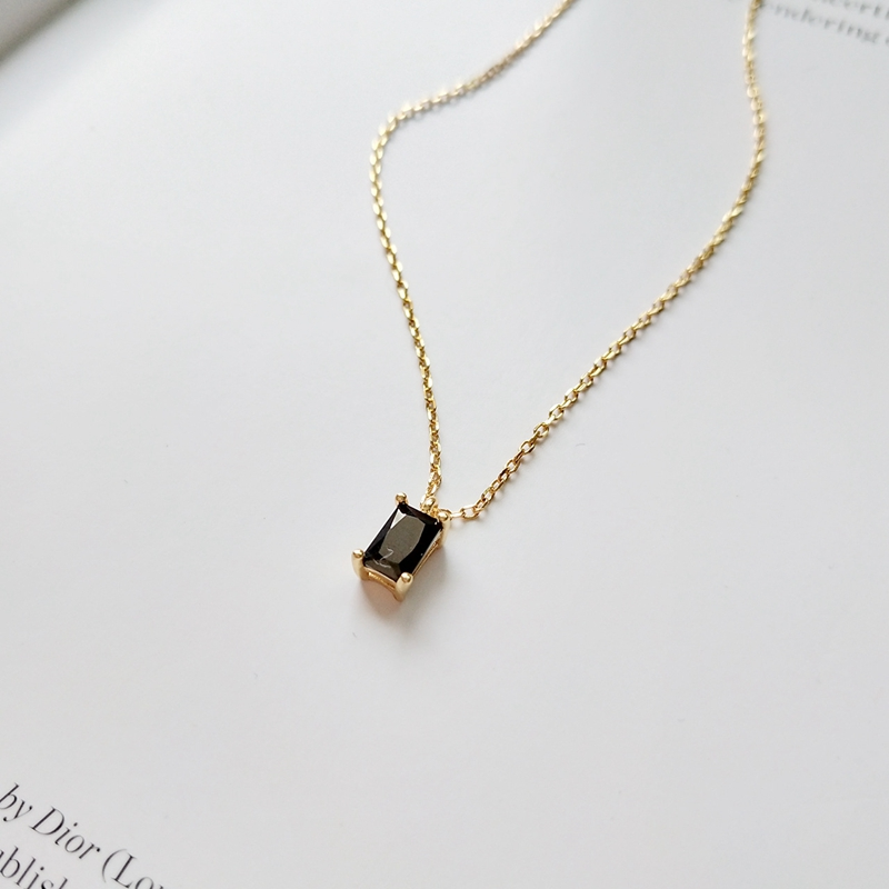 925 sterling silver black zircon square pendants necklace simple trendy design wild necklace for women charms fashion jewelry925 sterling silver black zircon square pendants necklace simple trendy design wild necklace for women charms fashion jewelry