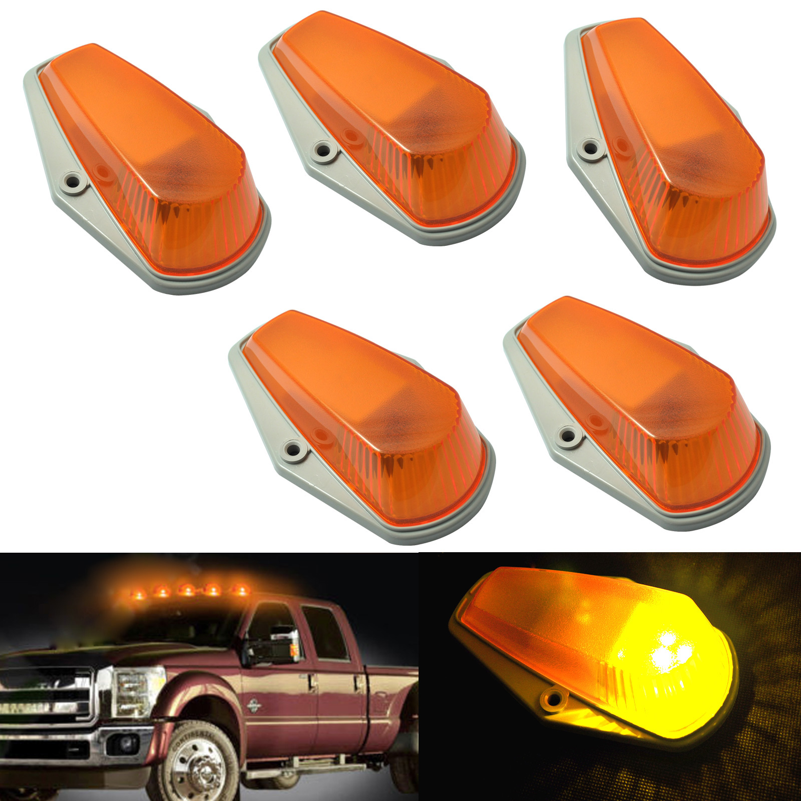 5 pcs Car Cab Roof Light Marker Amber Covers w/ Base Housing For Car 80-97 Ford F Super Duty XR657