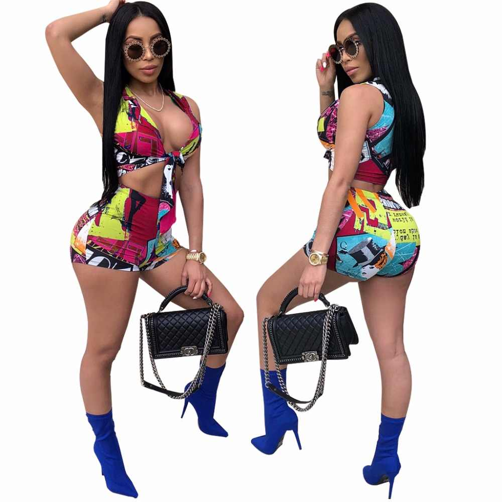 Adogirl Fashion Print Athleisure 2 Piece Set for Women Tracksuits Sexy Tie Front V Neck Sleeveless Crop Top Shorts Summer Suits