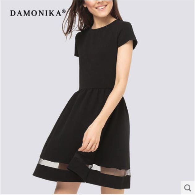 2018 nuevo vestido de mujer de moda europeo y americano con cuello redondo estilo vestido con mangas cortas para el verano de las mujeres