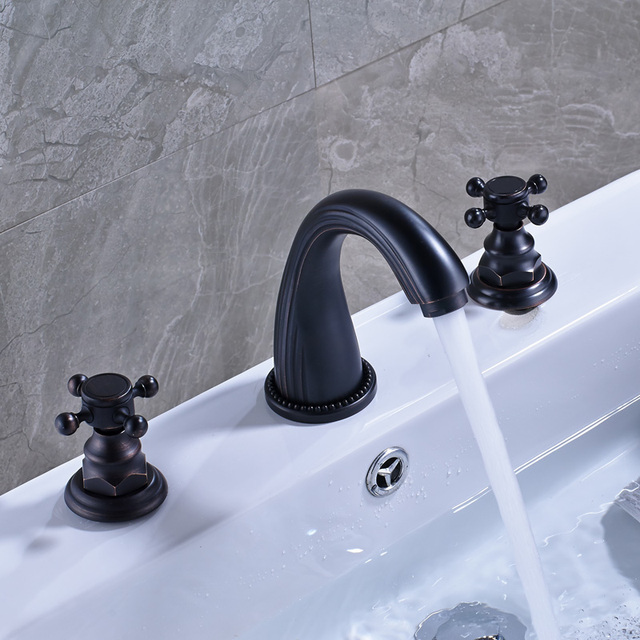 Contemporary Black Color Basin Water Taps Deck Mounted Oil Rubbed Bronze  Finish Bathroom Sink Faucet