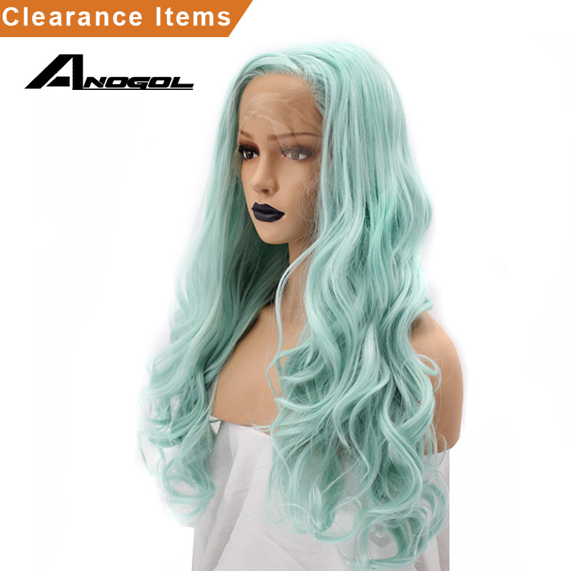 Anogol Mint Green High Temperature Fiber Glueless Free Part Natural Long Body Wave Synthetic Lace Front
