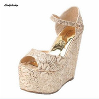 LLXF 15cm High Heeled Sandals Summer Shoes Woman Stiletto Female T Strap LACE Sweet Pumps Small