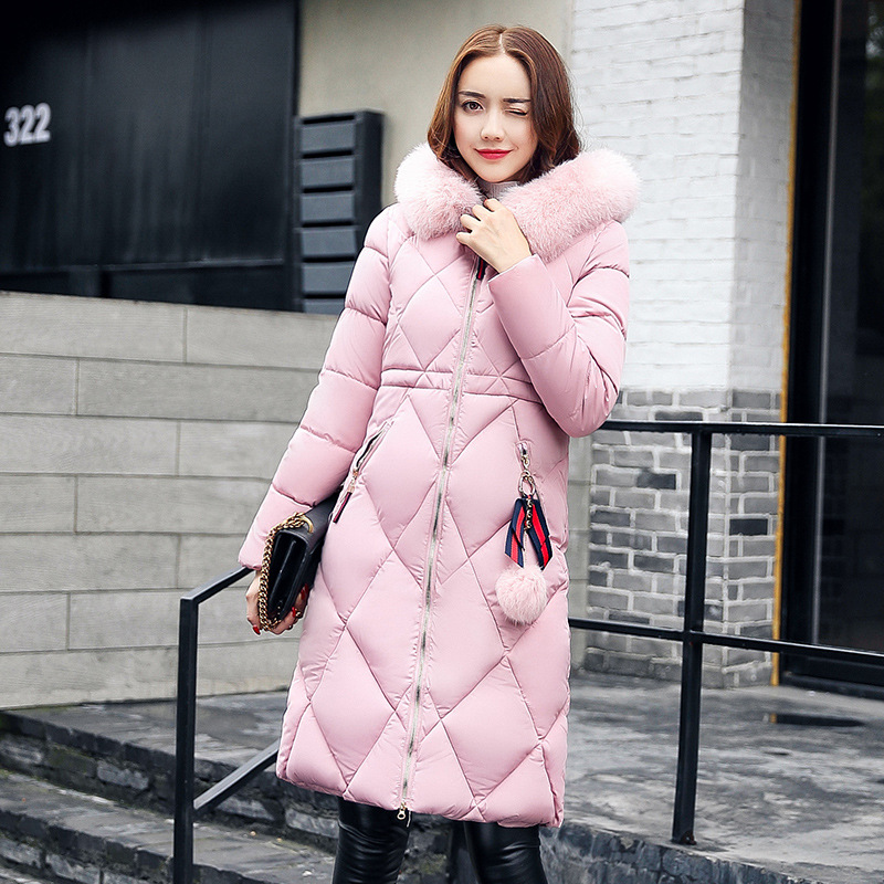 Winter jacket Women 2017 Mid-long Thicken Warm Cotton-Padded Down Parkas Coat Faux Fur Collar Hooded Female Fashion Jackets Coat furlove new real large raccoon fur winter coat women jacket coats collar thicken warm padded cotton lady parkas female jacket
