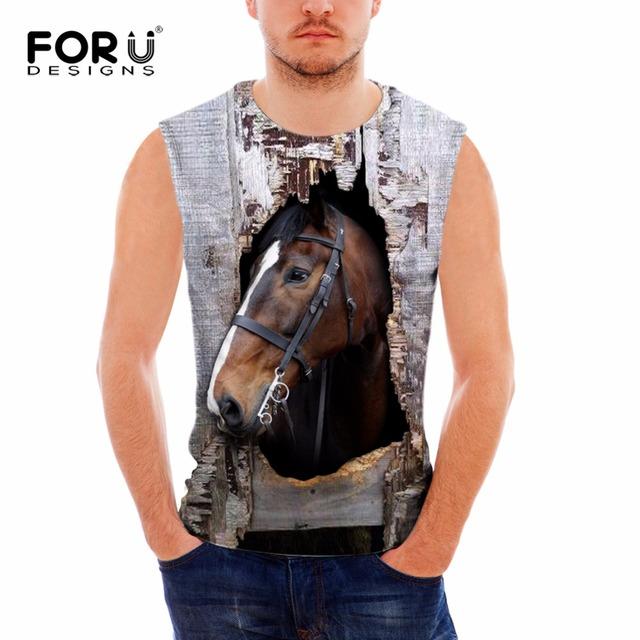 Forudesigns 2017 animais verão clothing tanque de fitness top dos homens 3d impressão cavalo coletes musculação colete sem mangas de algodão do homem