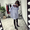 [soonyour] 2017 Spring Fashion New Knitting Hit Color Split Joint Stripe Long Sleeve Lapel Dress Woman tide all-match Y05405