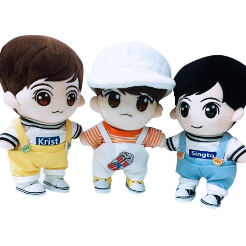 20cm Korea Kawaii Multicolor Plush Doll Clothes Bear Rompers Plush Clothing Fit Doll's Overalls Jumpsuit Daily Wear Fans Gift