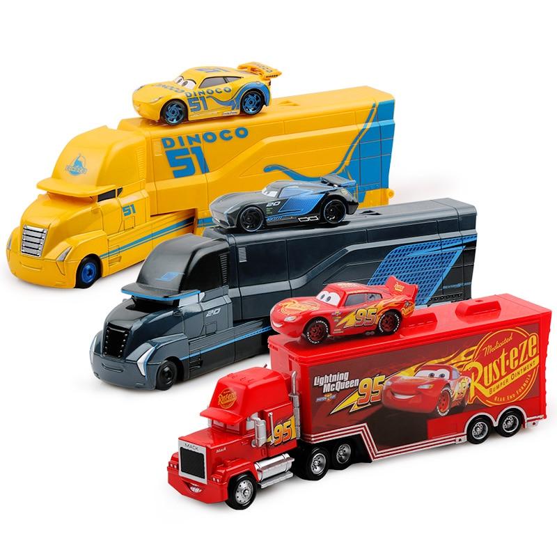 Cars Disney Pixar Cars 2 3 Toys Lightning McQueen Jackson Storm Cruz Mack Uncle Truck 1:55 Diecast Model Car Toys For Children