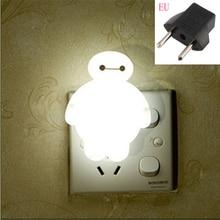 Top Baymax Cartoon lampka nocna 110V 220V wtyczka do usa ue pokój dziecięcy energooszczędna lampa led dla dzieci lampka nocna lampka nocna lampa