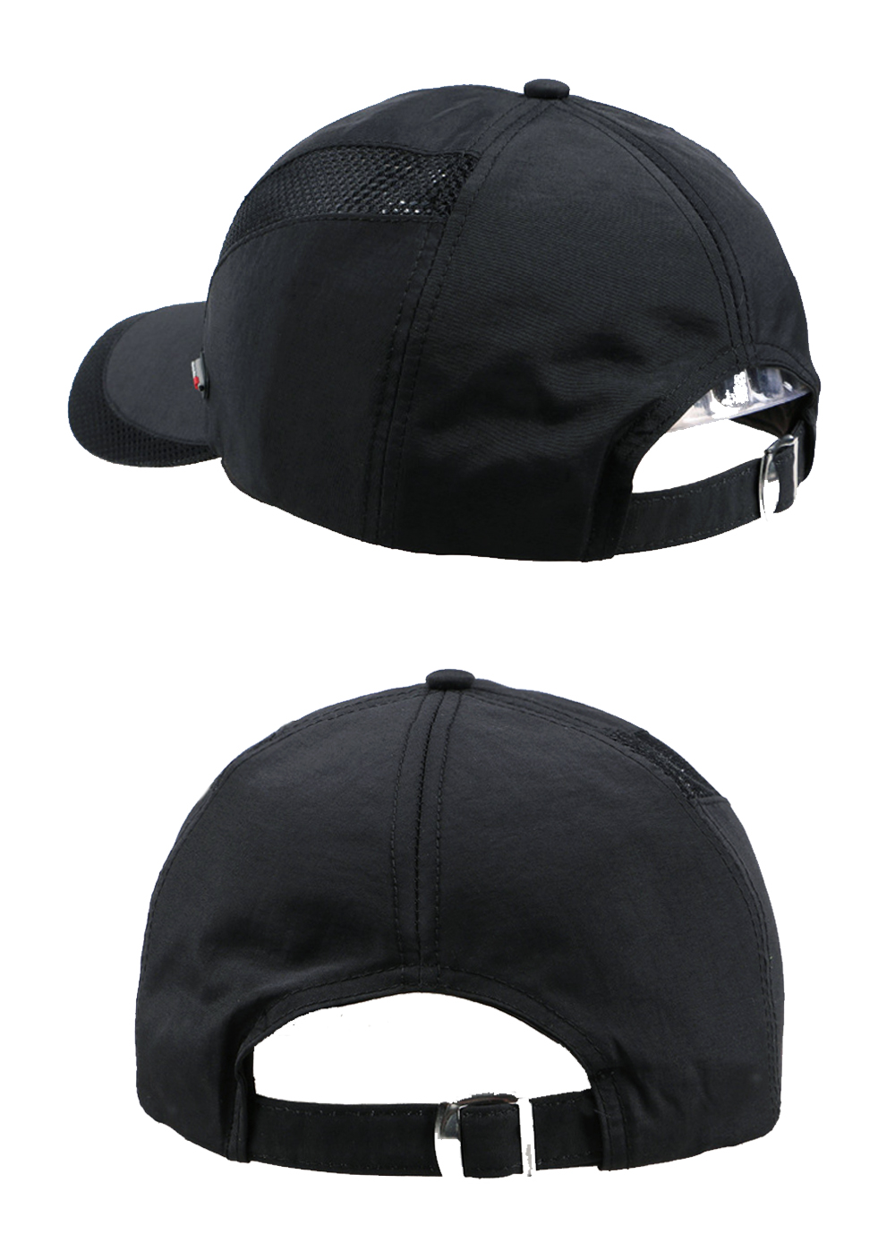 Cool Comfort Breathable Quick Dry Cap - Black Cap Rear Side Angle and Rear Views