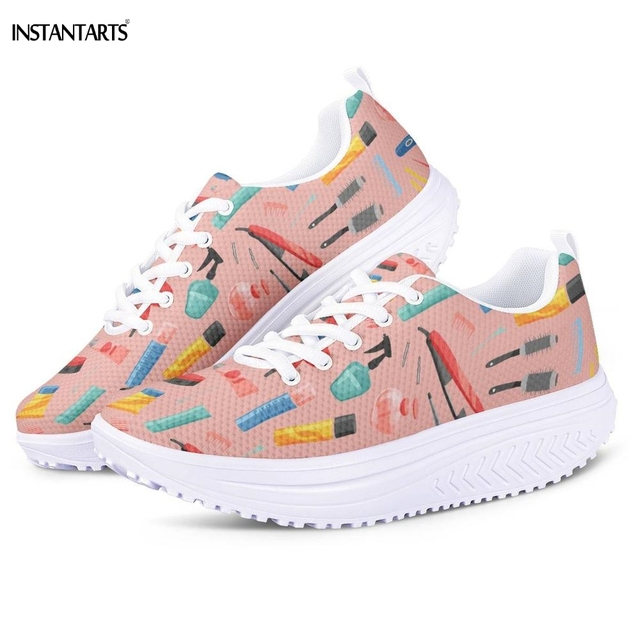 INSTANTARTS Pink Hair Stylist/Hairdressing Equipment Slimming Fitness Shoes Mesh Shaping Shoes Female Platform Wedge Sneakers